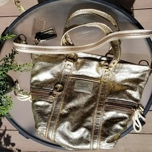 Metallic gold coach poppy hobo bag